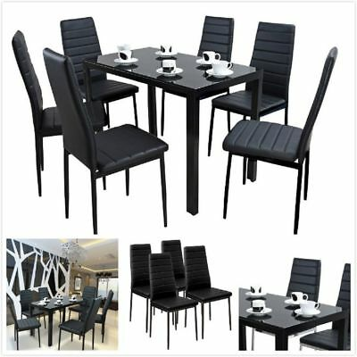 Black Grass Dining Table and 4 Or 6 PU Faux Leather Chairs Set Home Furniture UK