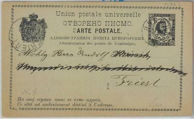 65986 MONTENEGRO  - POSTAL STATIONERY CARD to ITALY 1890 - P12a