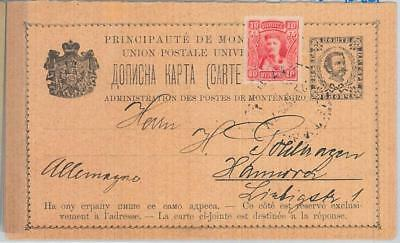 65990 MONTENEGRO  - POSTAL STATIONERY CARD  - P13b Double Card 1910