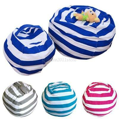 Kids Stuffed Plush Toy Bean Storage Bag Cotton Pouch Soft Striped Fabric Chair