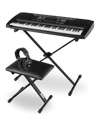61 Keys Digital Piano Keyboard Synthesizer Support Stand Bench Headphones Set