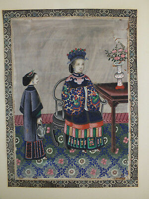 23) FINE CHINESE WATER COLOUR PAINTING ON RICE/PITH PAPER A LADY & SERVANT 19thC