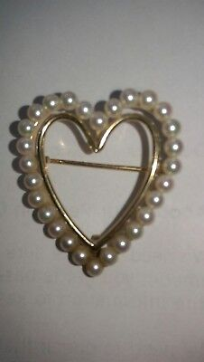 Heart Brooch 14Ct Gold And Pearls