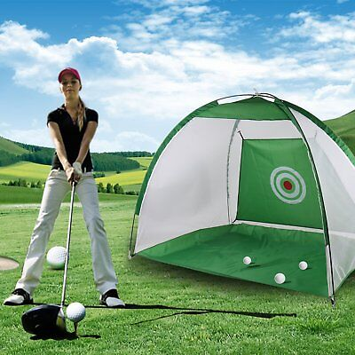 Golf Hitting Foldable Cage Practice Net Trainer & Training Aid Mat & Driver Iron