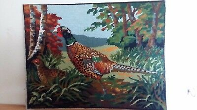 """Handworked completed tapestry """"PHEASANTS"""" 45cm x 35cm (approx 18""""x 14"""")"""