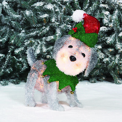 Holiday Time Light-up Fluffy Schnauzer Christmas Yard Decor Indoor Outdoor
