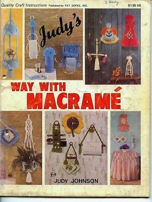 Judy's Way With Macrame - 1979 - Plant hangers, wall hanging, table, belt, bags