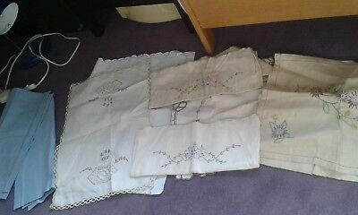 SET OF  8 VINTAGE  embroidered CHAIR ARM COVERS and tray cloth