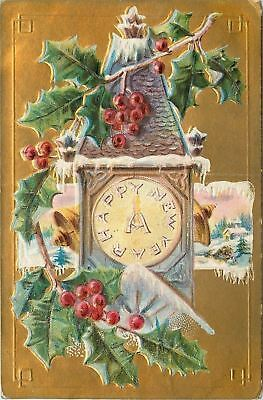 New Year Clock Tower~Bells Ring Out Sides~Snowy Holly Berry~Gold Back~Embossed