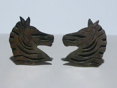 Vintage Mexico Mexican Zebra Horse Signed Sterling Silver Cuff Links Pair Set
