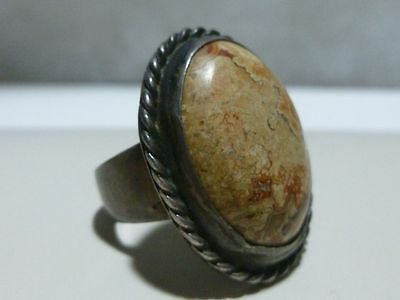 Super Heavy Mexico Mexican Sterling Silver Womens Natural Stone Art Deco Ring