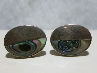 Vintage Mexico Mexican Designer Signed Abalone Sterling Silver Cufflinks