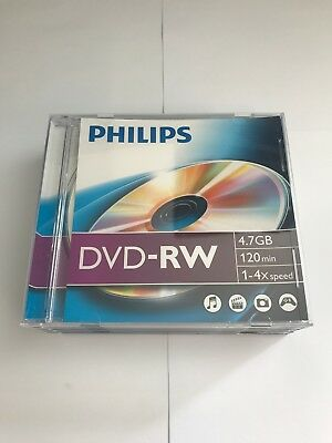 Philips DVD-RW 120 minutes 4.7GB 4X Speed Recordable Blank Discs - 2 Pack Cases