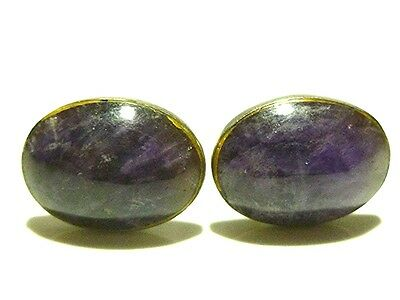 Designer Signed Large Amethyst Mexico Mexican Sterling Silver Cufflinks Pair