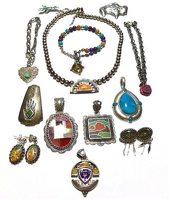 Lot Relios Carolyn Pollack Sterling Silver Southwestern Pendant (S) Necklace Etc