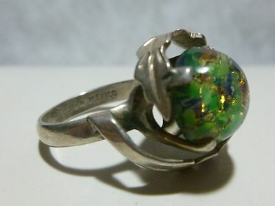 Js Mexico Mexican Designer Sterling Silver Art Glass Modern Womens Ring