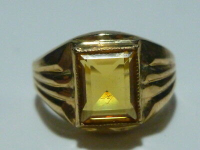 Art Deco Crosby 10K Yellow Gold Citrine Or Cz Womens Estate Ring Band Size 5