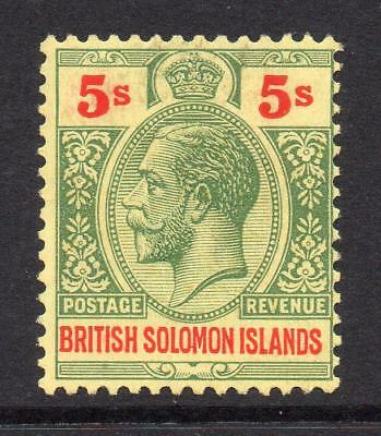 Solomon Islands 5/- Stamp c1914-23 Mounted Mint