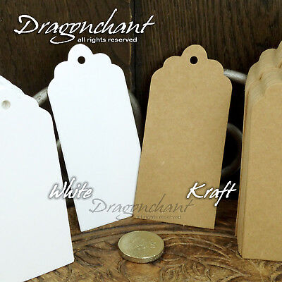 Pack of 100 pcs Gift Tags Plain Blank Kraft Brown White Scallop Label NO Strings