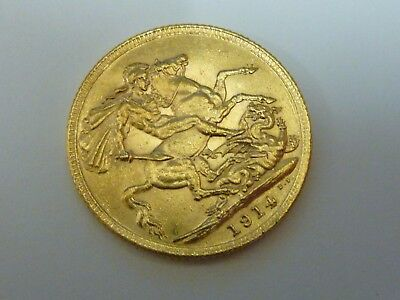 1914 King George V Full sovereign 22ct gold coin