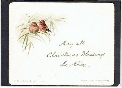 Alice West Victorian Christmas Greetings Card Birds Sat Of Grasses H & F