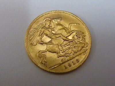 1913 King George V Half 1/2 Sovereign 22ct gold coin