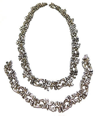 Old Taxco Mexico Mexican Sterling Silver Leaf Flower Necklace Bracelet Set
