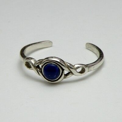 Solid 925 Sterling Silver Toe Ring Blue Sodalite Stone, Ladies New with Gift Bag