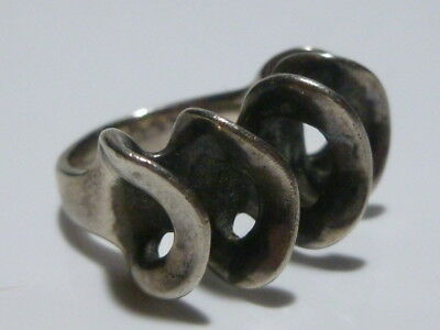Vintage Art Nouveau Deco Sterling Silver Womens Modern Handmade Ring Band