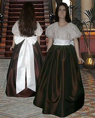 Girls Victorian American Civil War 3pc ball gown costume fancy dress age 11-12