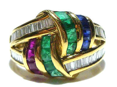 Levian 18K Yellow Gold .72Ct Diamond + Emerald Ruby Sapphire Cocktail Ring Band