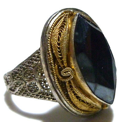 Old Estate China Chinese Export Sterling Silver Filigree Hematite Ring Size 6.5