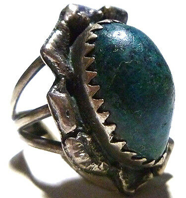 Antique Old Native American Navajo Hand Made Turquoise Sterling Silver Ring