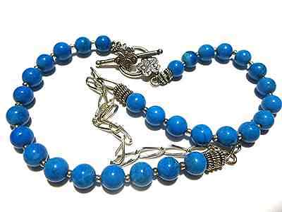 """Southwestern Style Flower Sterling Silver Blue Bead Necklace For Pendant 20"""""""