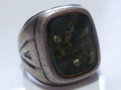 Art Nouveau Deco Moss Like Agate Sterling Silver Antique Estate Ring Band