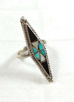 Vintage Zuni 925 Sterling Silver Elongated Onyx Turquoise Mop Size 6 Ring
