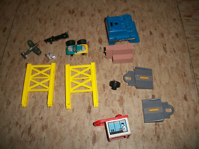 Lot of Galoob Micro Machines City play set parts and pieces yellow bridge