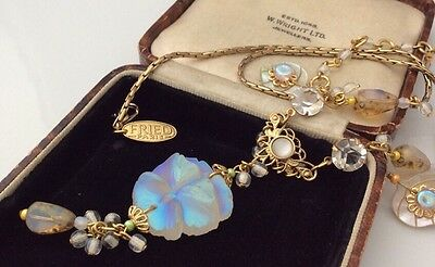 Vintage Jewellery Super Signed French frosted opal pansy flower Glass Necklace