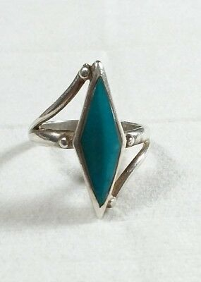 Southwestern 925 Sterling Silver Turquoise Size 7.5 Ring
