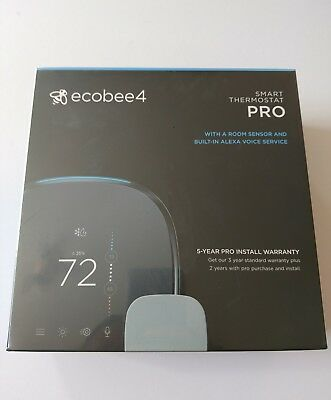 Ecobee4 PRO Smart Wi-Fi Thermostat. Remote Sensor & Built in Alexa Voice Service