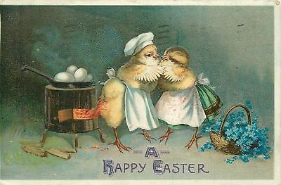 Clapsaddle Easter Fantasy~Dressed Chicks Embrace~Cookstove Lights Tailfeathers