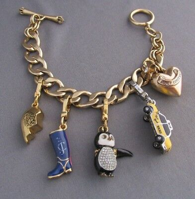 3D Chunky Heavy Gold Tone Juicy Couture Curb Link Charm Bracelet 116G