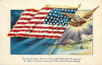 Patriotic WWI~American Eagle Flies Out of Sun~Purple Mountains~US Flag~Embossed