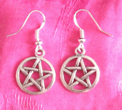 NEW! Silver Pentacle Pentagram Wicca Pagan Earrings! Star Witchcraft magic Goth