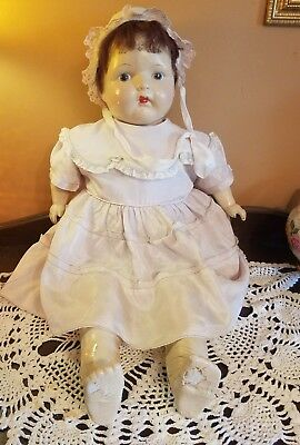"""Vintage German Early Rare Composition Baby Doll 28"""" Antique Clothes Need Repairs"""
