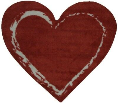 Area Rug Red Heart Shape Nylon Pile Non Slip Latex Backing Water Repellant