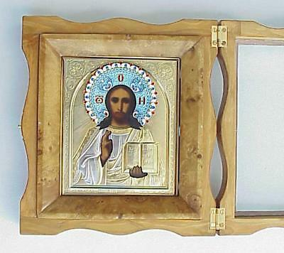 """Russian Imperial Enamel Orthodox Icon Pantocrator Silver 84"""" Gold Jeweler Cross"""