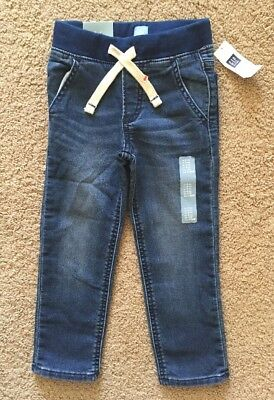 Toddler Boy Size 4 4T Baby Gap Pull On Banded Knit Denim Jogger Jeans