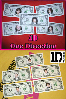 One Direction. 1D Dollar Bill Bank Notes. Niall, Zayn, Liam, Harry & Louis. 1D