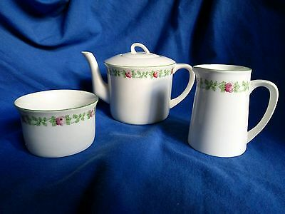 Art Noveau Foley Art China Peacock Pottery Tea Set - Teapot, Jug, Sugar Bowl